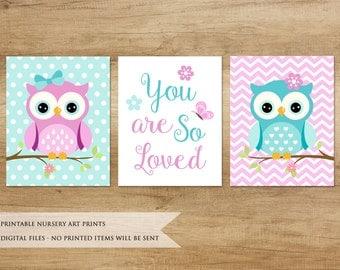 Nursery Print. Owl Print. Nursery Printable. Nursery Decor. Nursery Animals. Baby Girl Nursery Decor. Purple & Blue Nursery Art
