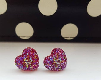 Pink Glittery Stud Earrings