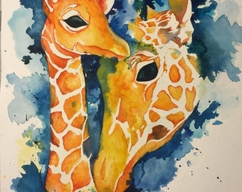 "Original Watercolor ""Motherly Love"" Giraffe Painting in frame"