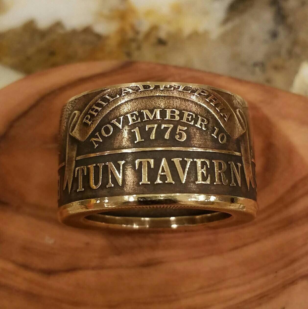 usmc ring usmc wedding band RCR Original US Marine Corps Tun Tavern Engravable Ring USMC Coin Ring Hand Forged