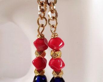 Earrings,  Red, Blue & Gold Lampwork Glass Beads