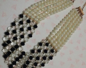 White & Black Mala - Necklace - FREE SHIPPING in U.S.
