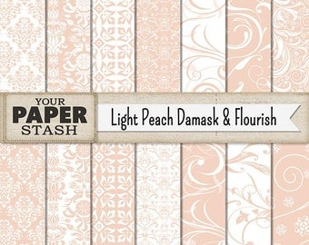 Damask Background, Flourish, Fililgree, Digital Paper Pack, Scrapbook Paper, Wedding, Coral, Peach, Elegant, Banners, Printable, Download