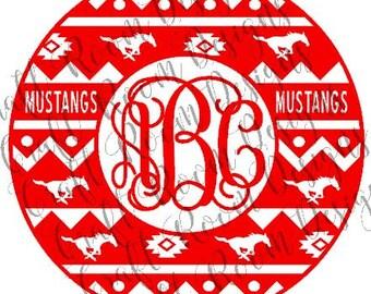 Mustangs Aztec Monogram Frame Digital Design