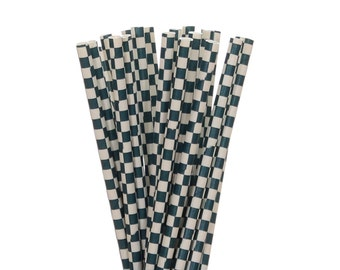 Paper Straws, Navy Blue Checkered Paper Straws, Navy Picnic Paper Goods, Little Man Party Decor, Navy Wedding Straws, Nautical Party Straws