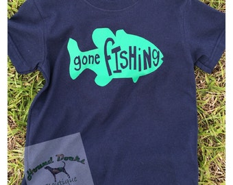 "YOUTH ""Gone Fishing"" Shirt Custom Personalized  (Gildan Brand)"