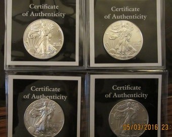2013-2014-2015-2016 SILVER AMERICAN EAGLE Coins( 1 of Each)