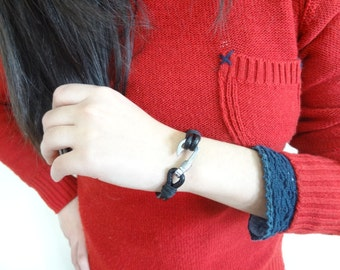 EXPRESS SHIPPING,Unisex Black Leather Bracelet,Unisex Jewelry,Fishing Hook Bracelet,Cuff Bracelet,Lovers Bracelet,Valentine's Gifts