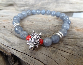 EXPRESS SHIPPING,Grey Agate Bracelet, Dragon Bracelet, Healing Stones Stretch Bracelet, Yoga,Meditation, Beaded Spiritual Reiki Sacral