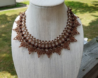 Brown Tatted Necklace