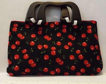 Cherry Purse/Handbag with Wood Handles