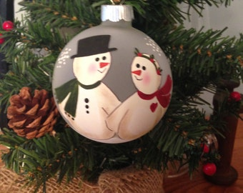 Hand painted, personalized snow couple ornament