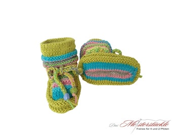 hand knitted baby shoes summer boots first shoes kiwi turquoise pink