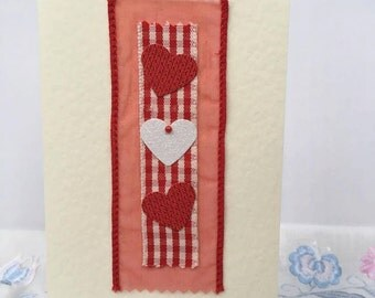 Handmade Valentine's Day Card - Red and White Ribbons and Hearts