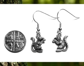 Tiny Silver Squirrel Earrings // Small Silver Squirrel Earrings // Woodland Earrings