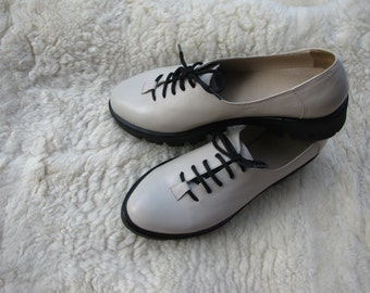 New Women's Beige Leather Oxfords Shoes Girl's Lace-up shoes Leather shoes for women White oxfords Women beige shoes Laceup platform oxfords