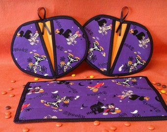 Mickey Mouse and Friends Halloween hot pads and matching Casserole hot pad