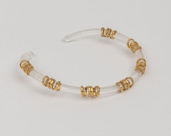 Vintage Designer Choker Lucite and Brass
