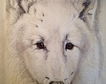 Hand drawn white wolf pillow cover