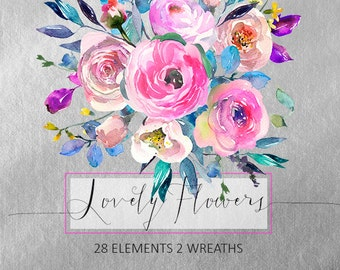 Pink Watercolor Flowers Peonies  Clipart Set Wedding Floral Wreaths Peony Roses Clip Art Digital Florals DIY Invitation Free Commercial Use