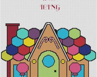 Candy House 8x10 cross stitch pattern