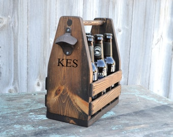 Personalized Rustic 6-Pack Beer Tote, Bottle Carrier, Valentines Gift, Gift for Him, Groomsmen Gift, Groom Gift, Boyfriend Gift