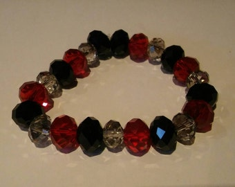 Black, Red and Clear stretchy beaded bracelet