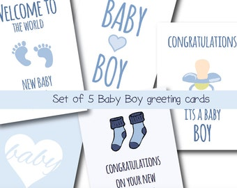 """Set of 5 Printable """"Baby Boy"""" Greeting Cards - Blue - Folded card - 5x7"""