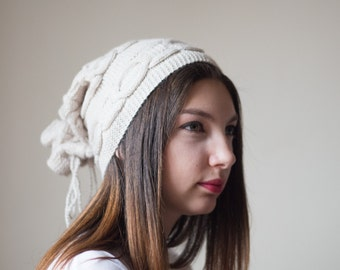 Knit Hat, Knitted Hat, Slouchy Hat, 2 in 1 Hat, Knitted Neck Warmer, Knitted Beret, Knit Beret, Winter Hat, Knitted Winter Hat, Yellow Hat