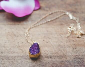 """Pretty Violet Amethyst Druzy Quartz Pendant 19"""" Necklace"""