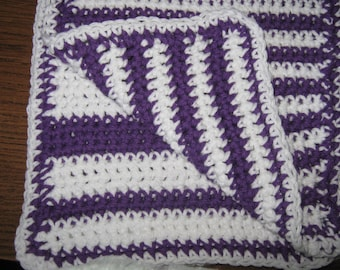 Cotton dish/wash cloths/crochetedPurple and White Cotton Dish Cloths