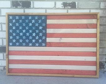 Handmade Wooden American Flag