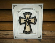 Cream Cross Blessed Wall Decor, Wood, Paint, Distressed, crucifix, shabby chic, Antiqued, vintage