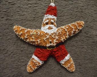 Beach Santa, Starfish Ornament, Beach Gifts, Christmas Ornaments, Stocking Stuffer, Secret Santa, Ornament Exchange Gifts