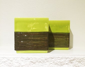 Pair of lime green square vases