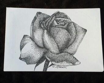 "Rose #2 - 4"" X 6"" Stippling print on cardstock."