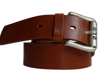 Cool buckle leather belt cognac