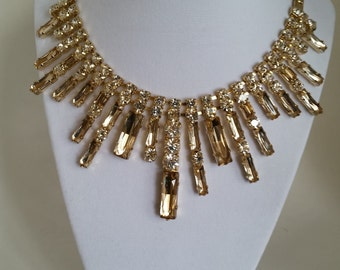 Rhinestone Necklace with Champagne Accent Baguettes, Vintage