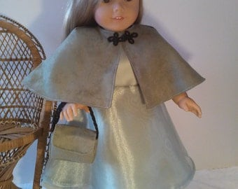 """Doll Clothes - Sage green dress w/hat, purse, and shoes. 18"""" American Girl Size"""