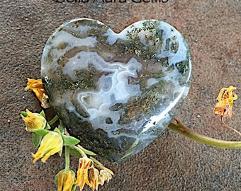 Moss Agate Heart-Puffy Heart