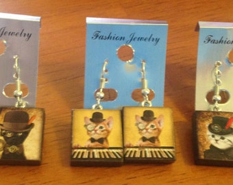 Steampunk Kitty Tile Earrings