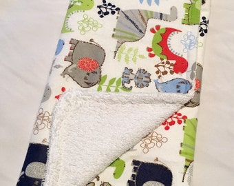 Dinosaur, prehistoric, baby boy burp cloth (set of two)