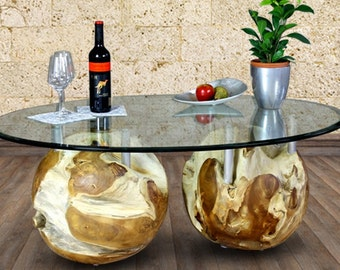 Picassi Coffeetable duo balls teak 120 x 80