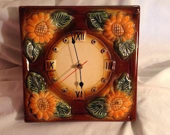 "Hand Made Ceramic Wall Clock ""Daisies""."