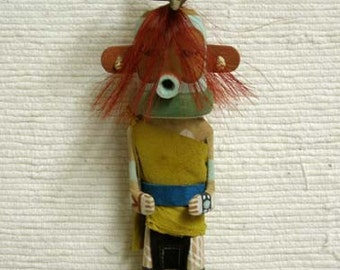 Old Style Hopi Carved Turquoise Nose Plug Man Traditional Warrior Katsina Doll