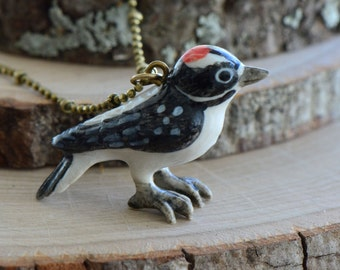 Hand Painted Woodpecker Necklace, Antique Bronze Chain, Vintage Style Wood Pecker Ceramic Animal Pendant & Chain (CA009)