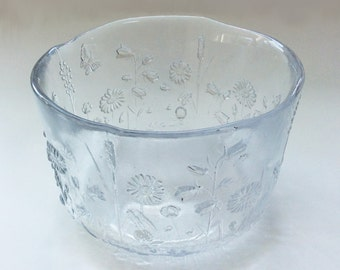 Large, Heavy Vintage Glass Bowl with Raised Flowers and Butterfly