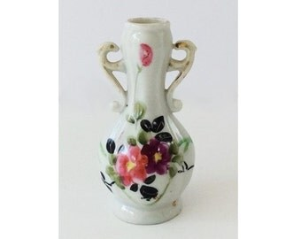 Vintage Miniature China Vase, with Handles and Painted Ornament