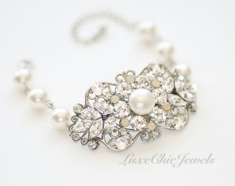 Bridal Bracelet, Swarovski Crystal and Pearl Bracelet, Wedding Jewellery - Nana
