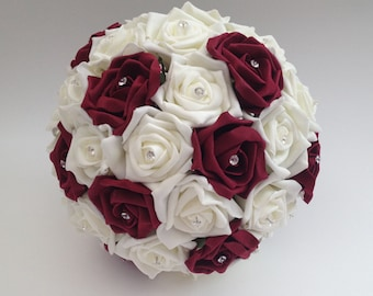 Burgundy and Ivory bouqutes.